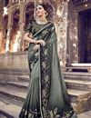 image of Function Wear Grey Designer Weaving Work Saree With Heavy Blouse In Banarasi Silk