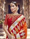 photo of Orange Function Wear Designer Weaving Work Banarasi Silk Saree With Heavy Blouse
