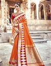 image of Orange Function Wear Designer Weaving Work Banarasi Silk Saree With Heavy Blouse