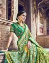 photo of Function Wear Sea Green Designer Weaving Work Saree With Heavy Blouse In Banarasi Silk