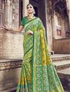 image of Function Wear Sea Green Designer Weaving Work Saree With Heavy Blouse In Banarasi Silk
