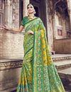 image of Function Wear Sea Green Designer Banarasi Silk Weaving Work Saree With Heavy Blouse