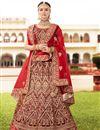 image of Sangeet Wear Maroon Designer Embellished Velvet Fabric Lehenga Choli