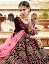 photo of Reception Wear Velvet Fabric Designer Embroidered Lehenga Choli In Maroon