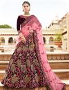 image of Reception Wear Velvet Fabric Designer Embroidered Lehenga Choli In Maroon