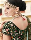picture of Wedding Wear Dark Green Designer Embellished Lehenga In Velvet Fabric