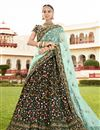 image of Wedding Wear Dark Green Designer Embellished Lehenga In Velvet Fabric