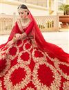 photo of Reception Wear Satin Fabric Designer Embroidered Lehenga In Red