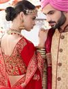 picture of Designer Satin Fabric Wedding Wear Red Embroidered Lehenga