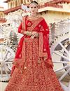 image of Reception Wear Satin Fabric Designer Embroidered Lehenga In Red