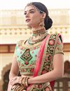 photo of Reception Wear Cyan Designer Embroidered Lehenga Choli In Art Silk Fabric