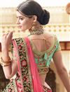 picture of Reception Wear Cyan Designer Embroidered Lehenga Choli In Art Silk Fabric