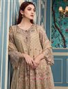 photo of Straight Cut Georgette Cream Fancy Suit With Designer Bottom