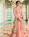 image of Prachi Desai Function Wear Salmon Color Embroidered Anarkali In Art Silk