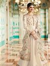 image of Prachi Desai Cream Embellished Anarkali Dress In Art Silk