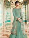 image of Prachi Desai Function Wear Turquoise Color Embroidered Anarkali In Art Silk