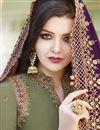 photo of Designer Satin Fabric Embroidered Sharara Salwar Suit In Khaki Color