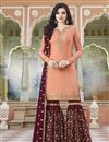 image of Designer Satin Fabric Embroidered Sharara Salwar Suit In Peach