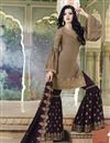 image of Satin Fabric Sharara Salwar Kameez In Chikoo Color With Embroidery