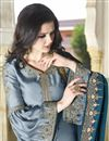 photo of Satin Fabric Sharara Salwar Kameez In Blue With Embroidery