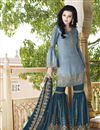 image of Satin Fabric Sharara Salwar Kameez In Blue With Embroidery