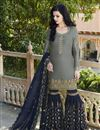 image of Grey Sharara Salwar Kameez In Satin Fabric With Embroidery