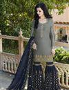 image of Satin Fabric Designer Grey Embroidered Sharara Salwar Suit