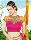 photo of Orange Color Embroidered Designer Net Lehenga Choli
