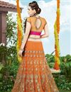 picture of Orange Color Embroidered Designer Net Lehenga Choli