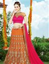 image of Orange Color Embroidered Designer Net Lehenga Choli