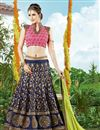 image of Festive Wear Navy Blue Color Embroidered Lehenga Choli in Silk Fabric