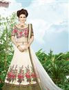 image of Festive Wear Off White Color Silk Lehenga Choli with Embroidery