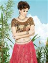 photo of Festive Wear Pink And Beige Color Embroidered Lehenga Choli in Net Fabric