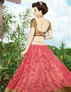 picture of Festive Wear Pink And Beige Color Embroidered Lehenga Choli in Net Fabric