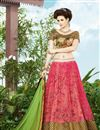 image of Festive Wear Pink And Beige Color Embroidered Lehenga Choli in Net Fabric