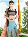 photo of Sky Blue Color Embroidered Designer Silk Lehenga Choli