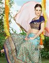 picture of Sky Blue Color Embroidered Designer Silk Lehenga Choli