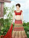 image of Festive Wear Cream Color Embroidered Lehenga Choli in Silk Fabric