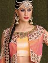picture of Ready To Ship Artistically Embroidered Blue Color Festive Wear Designer Silk Lehenga Choli With Jacket