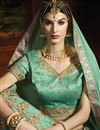 photo of Fancy Silk Fabric Embroidered Sea Green Color Designer 3 Piece Lehenga Choli