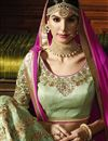 photo of Green Color Wedding Wear Embroidered Fancy Silk Lehenga Choli