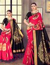 image of Tantalizing Weaving Designs On Red Occasion Wear Saree In Kanjivaram Silk