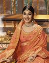 photo of Rust Cotton Silk Fabric Function Wear Saree With Weaving Work And Astounding Blouse