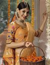 photo of Occasion Wear Cotton Silk Fabric Weaving Work Saree In Orange With Designer Blouse