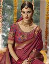 photo of Weaving Work On Cotton Silk Fabric Party Wear Saree In Burgundy With Ravishing Blouse