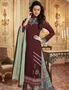 image of Fancy Printed Maroon Function Wear Designer Palazzo Suit In Georgette