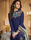 photo of Function Wear Fancy Navy Blue Printed Palazzo Designer Suit In Georgette