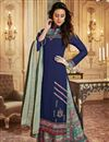 image of Function Wear Fancy Navy Blue Printed Palazzo Designer Suit In Georgette