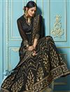 photo of Black Embroidered Georgette Fancy Floor Length Anarkali