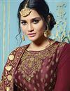 photo of Fancy Embellished Long Anarkali Dress In Georgette Wine